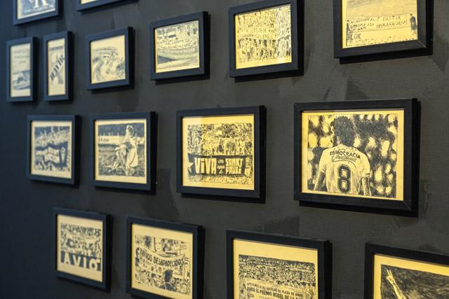 "Borga Kantürk, ""Close Ranks,"" 2009-2011. Installation, 34 framed drawings. Installation view from sevennovembertwothousandandtwelve, Hasköy Yan Factory, Istanbul, 2012. Photo by Rıdvan Bayrakoğlu."