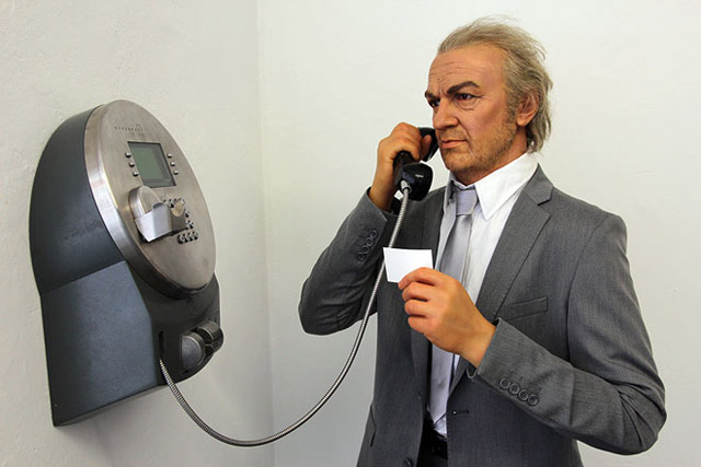 Halil Altındere, Telephone Call from Istanbul, 2012. Life-sized wax sculpture, telephone (Detail).