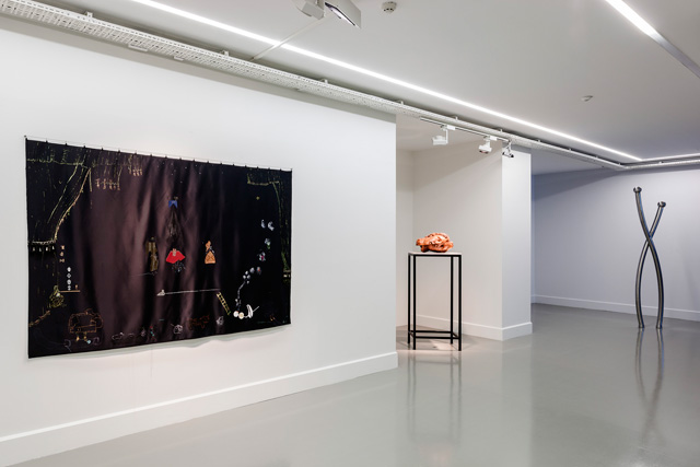 "Left to right: Nilbar Güreş, ""Twin Goddess: The Sketch of an Encounter"", 2012. Aslı Çavuşoğlu, ""Gordian Knot"", 2013. Şener Özmen, ""Pole Escaping Its Flag"", 2012. Installation view: ""Envy, Enmity, Embarrassment"", Arter, 2013. Photo by Murat Germen."