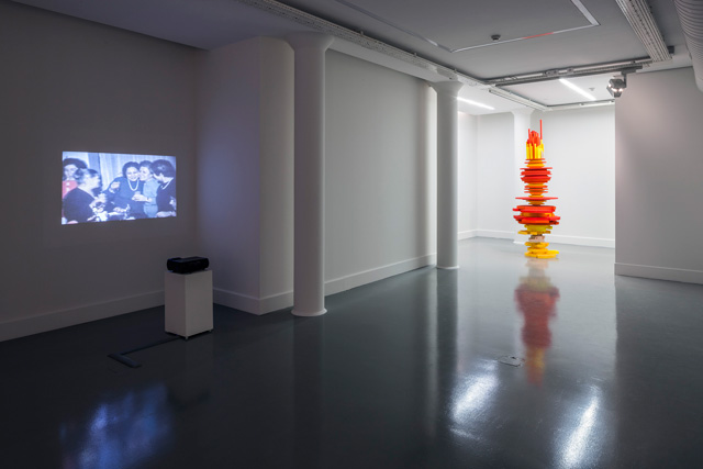 "Left to right: Hera Büyüktaşçıyan, ""Terk-i Dünya"", 2012. Mahir Yavuz, ""Totem #1: Enmity 2012"", 2013 Installation view: ""Envy, Enmity, Embarrassment"", Arter, 2013. Photo by Murat Germen."