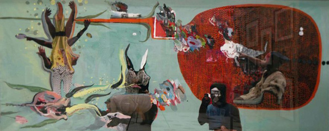 Days of Captiva, 2014, Mixed-media on paper 155 x 375 cm. Cooperative Work Rokni Haerizadeh, Ramin Haerizadeh and Hesam Rahmanian. Courtesy the artists and Gallery Isabelle van den Eynde, Dubai.