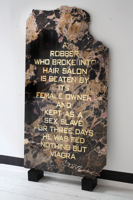 Joana Kohen, A ROBBER WHO BROKE INTO HAIR SALON IS BEATEN BY ITS FEMALE OWNER AND KEPT AS A SEX SLAVE FOR THREE DAYS HE WAS FED NOTHING BUT VIAGRA, 2014.  83.5x159x2cm.