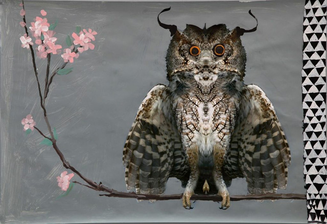 Image: Owl, 2014, Mixed-media on paper, 106 x 155 cm. Cooperative Work Rokni Haerizadeh, Ramin Haerizadeh and Hesam Rahmanian. Courtesy the artist and Gallery Isabelle van den Eynde, Dubai.