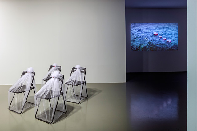 "Füsun Onur, ""Through the Looking Glass"", 2014. Exhibition view: ""Any Chair"" (1991) 2014; ""Pink Boat"", 2014 (sketch: 1993). Photo: Murat Germen."