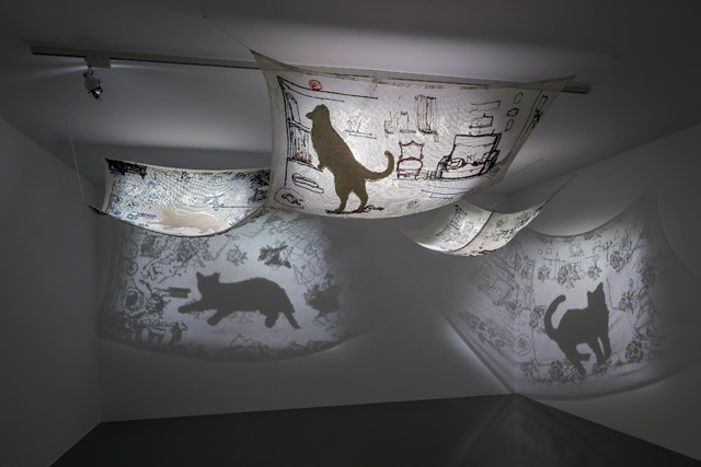 "Füsun Onur, ""Elegy for Tekir"", 2009-2012. Installation view: ""Through the Looking Glass"", ARTER, 2014. Photo: Murat Germen."