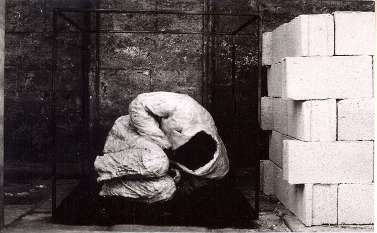 Cengiz Çekil, Embryo/Crust - Resistance/Energy, 1976. Iron, resistance, soil, plastered jacket and trousers, bricks, mineral wool.