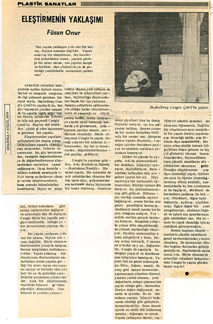 The original newspaper clipping of Füsun Onur's article from Cengiz Çekil's personal archive.