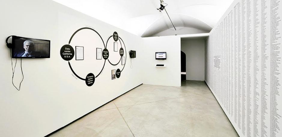 Paolo Cirio, Loophole for All, 2013. Mixed media, installation view.