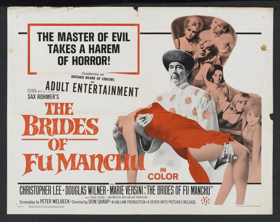 "Poster for the 1966 film ""The Brides of Fu Manchu."" Although the poster insinuates that Fu Manchu takes a harem, the Christopher Lee incarnations of the doctor are very much depicted as very much asexual."