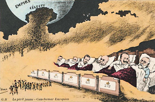 "Leaders of European nations asleep as the yellow peril spreads to their countries. Caption reads: ""Yellow Peril- European Nightmare."" Blue ball on the top left reads: ""Celestial Empire."""