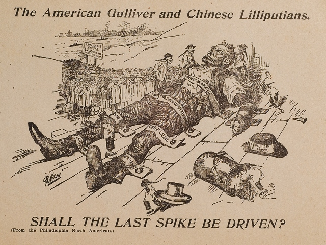 "Illustration from the 1902 publication by American Federation of Labor titled: ""Some Reasons for Chinese Exclusion: Meat vs Rice."" Most American socialists and trade unions have adopted such racist imagery to support the Chinese Exclusion Act (1882)."