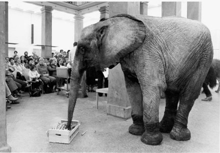 """Peter Kubelka, """"Concert and Dinner for Animals and Humans"""" Staedelschule, February 8, 1983."""