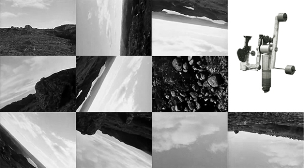 A collage made using a photograph by Joyce Wieland and images from the Michael Snow's film La Région Centrale, by Naci Emre Boran.