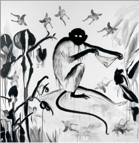 İnci Eviner, Lost Panties, 2009. Acrylic and silkscreen on canvas, 200 x 200 cm.