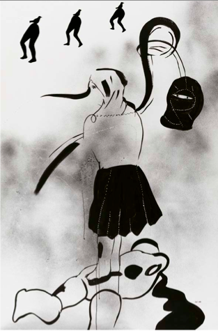 İnci Eviner, Don't Worry, You'll Be Fine, 2005. Ink and collage on paper, 161 x 107 cm.