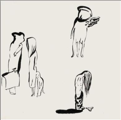 İnci Eviner, Somebody Inside, 2002. Ink on paper, 30 x 30 cm.